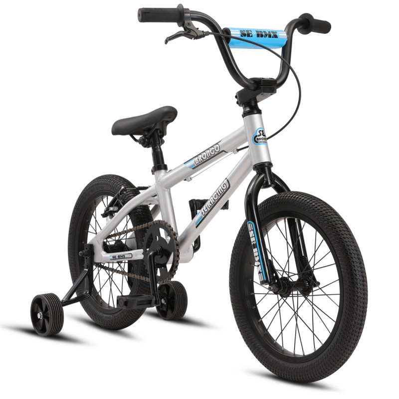 """2021 SE Bikes Bronco 16"""" Kids Series BMX Bike - Silver"""