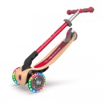Globber Primo Foldable Wood Scooter with Lights - Red