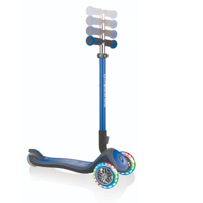 Globber Elite Deluxe with Lights Folding Scooter Navy Blue