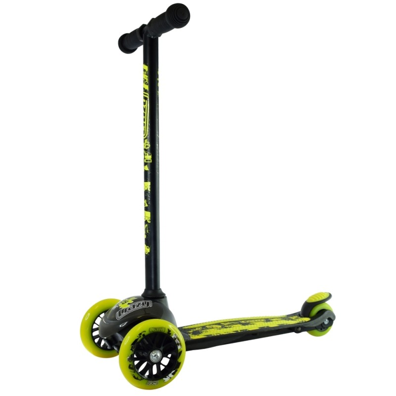Crazy Skates Joey Construction Scooter - Black/Yellow with Safety Pads