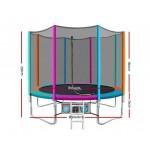 Everfit 10ft Trampoline Round Trampoline - Multi-coloured Flat