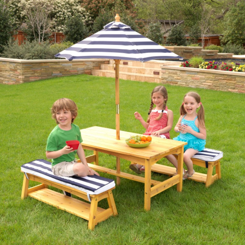 Kidkraft Kids Outdoor Table Amp Bench Set With Cushion