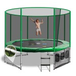 OZ Trampolines Summit Round 10 Ft. Above Ground Trampoline - Green