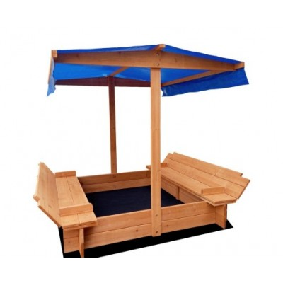 Keezi Wooden Outdoor Canopy Sand Box Set Sand Pit- Natural Wood