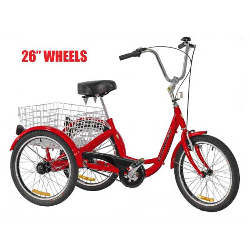 "Gomier 2500 Series 6 Speed Shimano 26"" Adult Tricycle - Red"