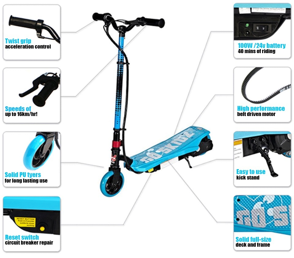 Go Skitz 1 0 Electric Scooter White Blue Go Easy Online
